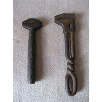 Два больших старинных разводных гаечных ключа одним лотом. Первая четверть прошлого века.