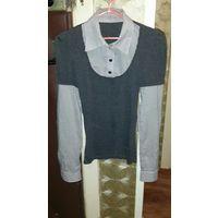 Рубашка серого цвета с черно-белыми полосками. 42 размер.