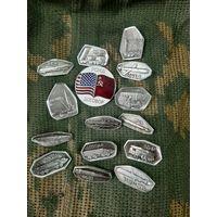 Серия знаков Разоружение, посеребрённые, латунь и сплавы. Экспортный вариант.