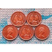 Фолклендские острова 1 пени 1998 года. UNC. Пингвины. Елизавета II. Инвестируй выгодно в монеты планеты!