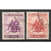 Король Наресуан на боевом слоне Таиланд 1955 год 2 марки