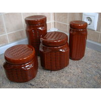 Набор банок для сыпучих продуктов, керамика, 4 шт. (0,75/2*0,5/0,3 л)