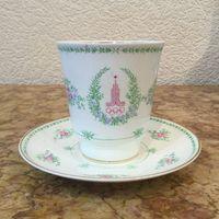 Чашка с блюдцем (чайно-кофейная пара) Олимпиада, ЛФЗ. СССР