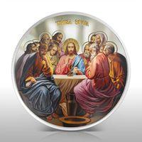 """Ниуэ 10 долларов 2012г. """"Тайная Вечеря"""". Монета в капсуле; шикарном деревянном подарочном футляре; номерной сертификат; коробка. СЕРЕБРО 155,50гр.(5 oz)."""