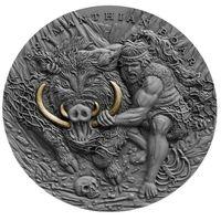 """Ниуэ 5 долларов 2020г. """"Двенадцать подвигов Геракла: Эриманфский вепрь"""". Монета в капсуле; деревянном подарочном футляре; номерной сертификат; коробка. СЕРЕБРО 62,20гр.(2 oz)."""