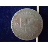 Монета 20 песевас, Гана, 1967 г.