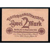 Германия. 2 Марки 1922 года. P62, UNC-