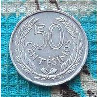 Уругвай 50 сентавос 1965 года. AU.