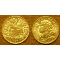 Золотая монета Швейцарии 20 франков 1935 г
