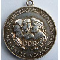 """Германия, (ГДР) Серебряная медаль """"Nationale Volksarmee"""" 1956 год. - ТОРГ по МНОГИМ Лотам !!! -"""