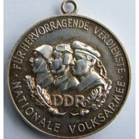 "Германия, (ГДР) Серебряная медаль ""Nationale Volksarmee"" 1956 год."