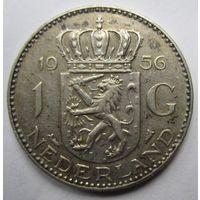 Нидерланды. 1 гульден 1956. Серебро. 256