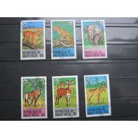 Марки - фауна, Буркина-Фасо, рысь, слон, антилопа, леопард