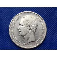 5 Франков 1850 год Бельгия серебро Леопольд I