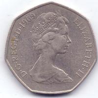 Великобритания, 50 пенсов 1969 года.