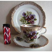 MITTERTEICH BAVARIA GERMANY Коллекционная чайная пара ( 3 части) золото, бекет весенних цветов. Очень красивый декор!