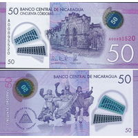 Никарагуа 50 кордоб 2014 год  (полимер)  UNC