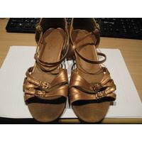 Танцевальные туфли для латины, бальных танцев (кожа), 25 р-р медного (коричневого) цвета