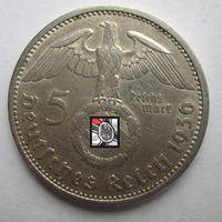 Третий рейх. 5 марок 1936 A. серебро   .c8-367
