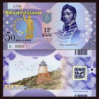 США - 50 Dollars - 13 штат Rhode Island - 2014 - Polymer - UNC