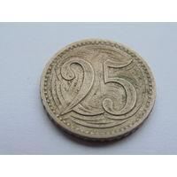 Чехословакия 25 геллеров 1933г.