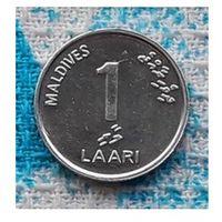 Мальдивы 1 лаари 2012 года. UNC. Для тех кто собирает страны по 1 центу!