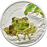 """Палау 2 доллара 2011г. """"Мир лягушек. Тонкинская гигантская телодерма"""". Монета в капсуле; подарочном футляре; номерной сертификат; коробка. СЕРЕБРО 15,5гр."""