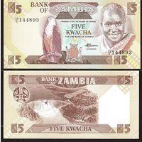 Замбия. 5 квача  1980-88 год  UNC  другой  номер
