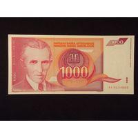 Югославия, 1000 динар 1992 год. UNC