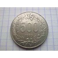 Уругвай 500 новых песо 1989