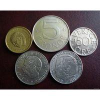 Швеция. 5 монет 1973-1991 г.