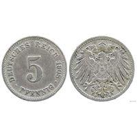 YS: Германия, Рейх, 5 пфеннигов 1908D, KM# 11 (1)