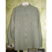 Блузка зелёная из плотной ткани р.54