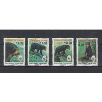 Боливия WWF Медведи 1991 год чистая полная серия из 4-х марок