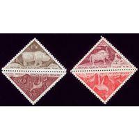 4 марки 1962 год Чад Доисторические животные 23-24,27-28