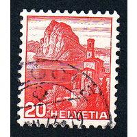 Швейцария, почтовая марка, 1936 год, номинал 20с, SG#375A (*5)