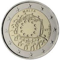 2 евро 2015 Мальта  30 лет флагу Европейского союзаUNC из ролла