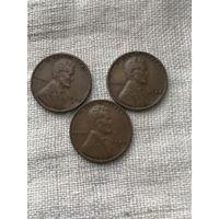 США 1 цент 1948, 1948 d,s г.,  набор монет 3 шт