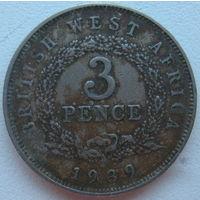 Британская Западная Африка 3 пенса 1939 г.