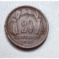 Чили 20 сентаво, 1942 6-3-17