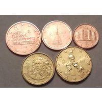 Набор евро монет Италия 2012 г. (1, 2, 5, 10, 20 евроцентов)