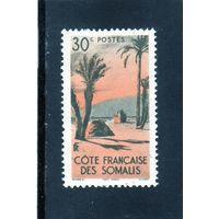 Франция.Французское Сомали.Mi:FR-SO 286. Палатки Данакили.Пальмы.1947.
