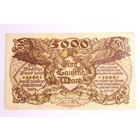 Германия (Mannheim), 5000 Марок 1922 год, - Оригинал редкой банкнотЫ -