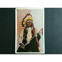 Редкая почтовая карточка США. Индеец. Этнография. Тиснение 1906г. Оригинал.