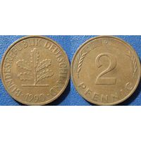 ФРГ, 2 пфеннигa 1990 D. монетный двор Мюнхен