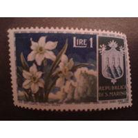 Сан-Марино 1953 цветы, герб