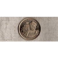 Гибралтар 2 фунта 1992/Вирениум Корабль Колумб/редкий металл(Qu)