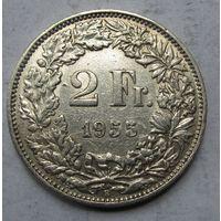 Швейцария, 2 франка, 1955, серебро