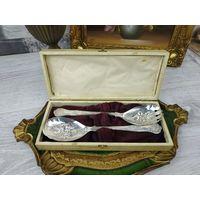 Салатный набор Серебрение в Кейсе Англия Клейма