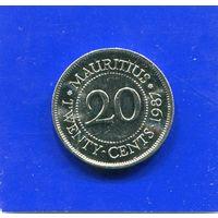 Маврикий 20 центов 1987 UNC